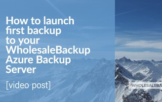How to launch first backup to your WholesaleBackup Azure Backup Server