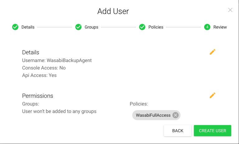 step 2 wasabi user creation