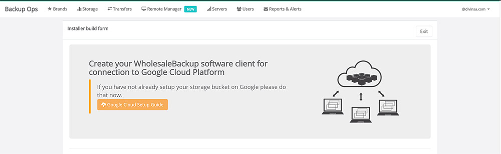 BackupOps Google Cloud Backup Agent Installer Build Form